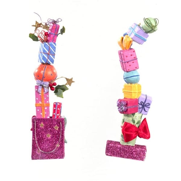 Set of 2 Multi-Color Glittered Stacked Gifts Christmas Ornaments