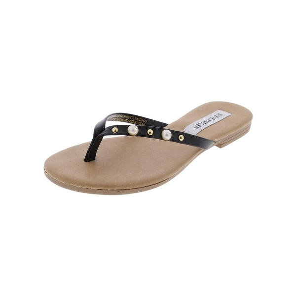 Steve Madden Womens Pearla Flat Sandals Casual Pearls - 7 medium (b,m)