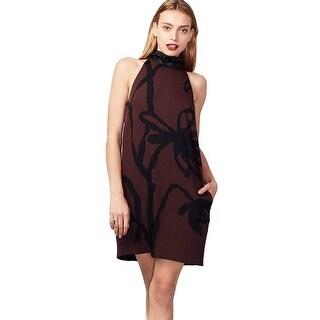 Rachel Roy Women's Floral Printed High Neck Dress, Pinot Noir Combo, 6