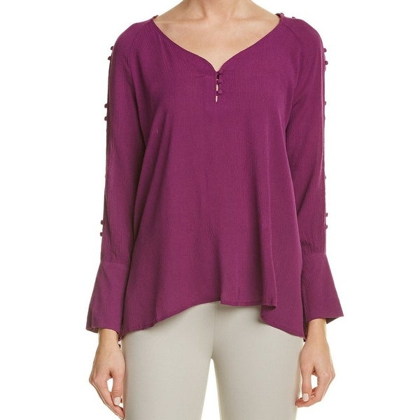 43db91d87e6 Shop Catherine Malandrino NEW Purple Women s Large L Split Sleeve Blouse - Free  Shipping On Orders Over  45 - Overstock.com - 18408904