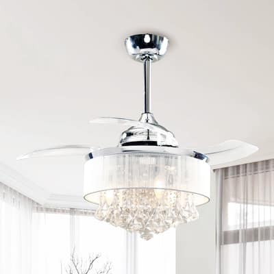 Chrome 36-inch Chandelier Crystal Retractable 3-Blade Ceiling Fan - 36-in