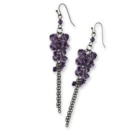 Black IP Purple Crystal Fireball Leverback Earrings