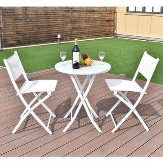 costway 3 pcs folding bistro table chairs set garden backyard patio furniture white - Garden Furniture Table And Chairs