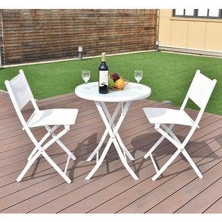 Superbe Costway 3 PCS Folding Bistro Table Chairs Set Garden Backyard Patio  Furniture White