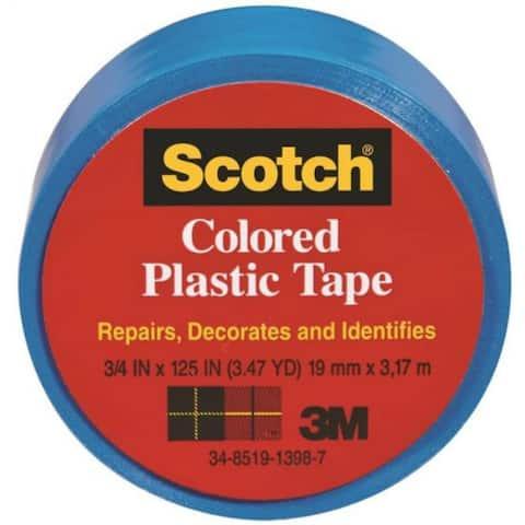 """Scotch 191BL Colored Plastic Tape, 1-1/2"""" x 125"""", Blue"""