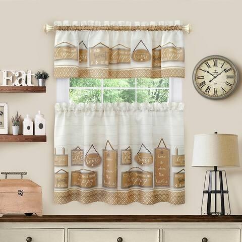 Modern Farmhouse Tier and Valance Window Curtain Set