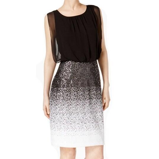 cadef35e Calvin Klein NEW Black Womens Size 10 Ombre Sequin Blouson Sheath Dress