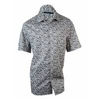 Perry Ellis Men's Big & Tall Pinstriped Print Cotton Shirt - Alloy - 2X