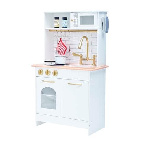 Teamson Kids - Little Chef Boston Modern Play Kitchen - White, Wood - 22 x 11.5 x 37.25