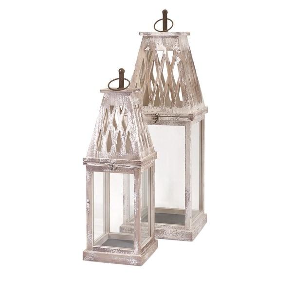 IMAX Home 89361-2 Ramsey 2 Piece Iron and Wood Pillar Lantern Candle Holder Set - Beige