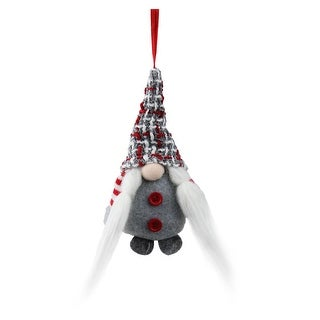 6.25 Tiny Christmas Santa Gnome with Plaid Hat and Striped Arms