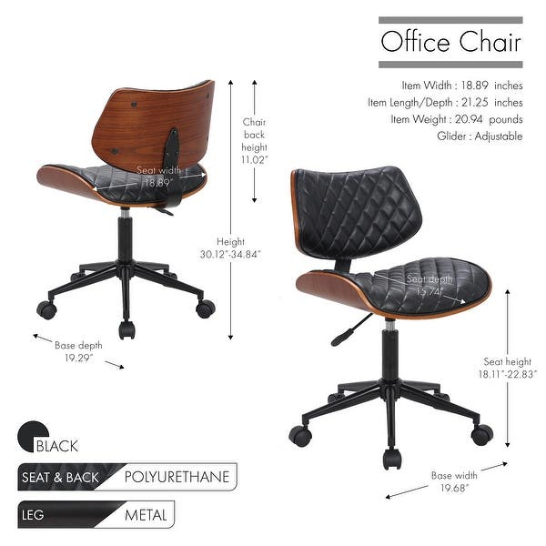Shop Porthos Home Office Chair Bentwood Walnut Veneer Style Deluxe Comfort Overstock 22650478