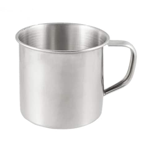 """D Shape Handle Design 200mL 7.5cm Dia Stainless Steel Cup - Silver - 3.9"""" x 2.9"""" x 2.5""""(L*W*H)"""