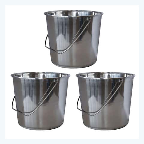 Offex 3 Piece Medium Stainless Steel Bucket Set with Handle