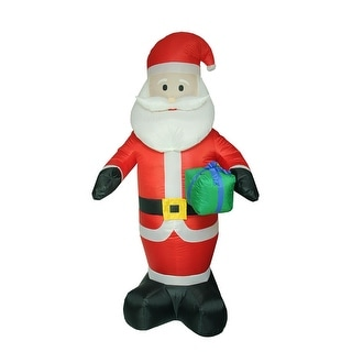 8' Inflatable Lighted Santa Claus with Gift Christmas Yard Art Decoration
