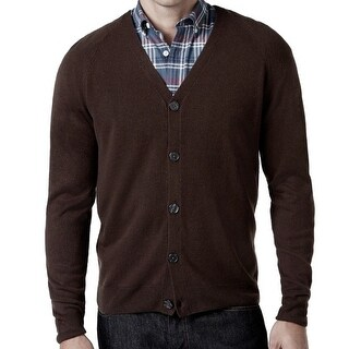 Weatherproof NEW Espresso Brown Men Large L Button Down Cardigan Sweater
