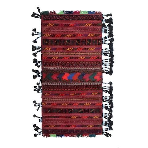 """Vintage Balochi Orik Red/Green Rug - 2'0"""" x 4'1"""""""