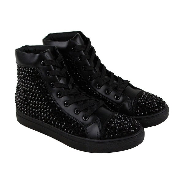 70603867a6c Shop Steve Madden Crescent Mens Black Leather High Top Lace Up ...