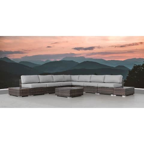 LSI 10Piece Rattan Sectional Seating Group with Cushions