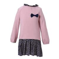 Richie House Girls' Spring Autumn Long Sleeve Dress with Floral Bottom