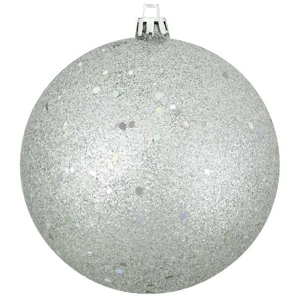 """Shatterproof Silver Splendor Holographic Glitter Christmas Ornament 4"""" (100mm)"""
