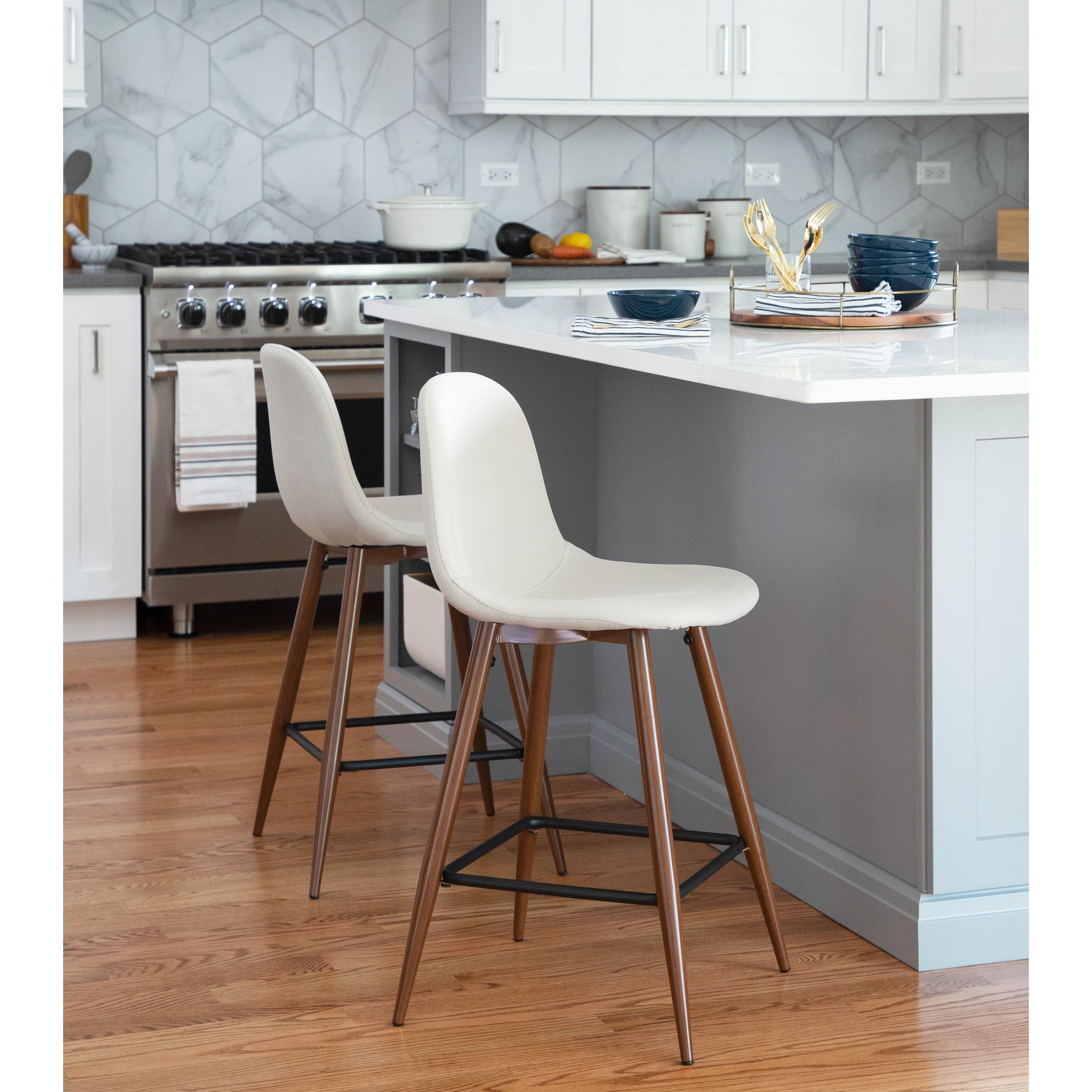 Pebble Mid Century Modern Upholstered Kitchen Counter Stool Set of 9
