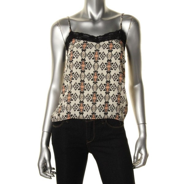 Ultra Flirt Womens Tank Top Printed Lace Trim
