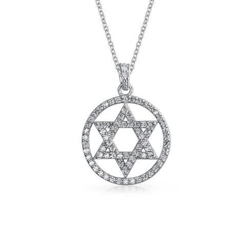 Hanukkah Jewish Bat Mitzvah Pave Cubic Zirconia CZ Disc Star Of David Pendant Necklace For Women Sterling Silver