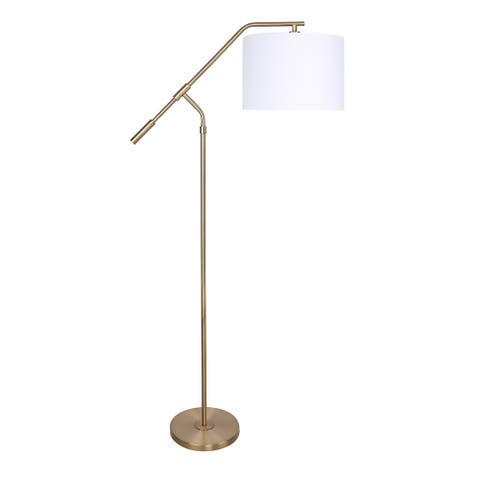 62.5 Metal Task Floor Lamp with Slim-Line Angular Design & Linen Drum Shade