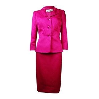 Le Suit Women's English Garden Croco Skirt Suit
