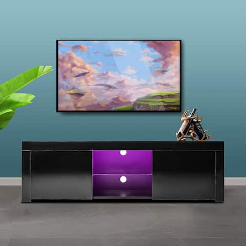 Morden TV Stand with LED Lights,High Glossy Front TV Cabinet