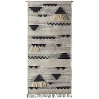 """60"""" x 30"""" Contemporary Hand Woven Multi-Color Wool Hanging Wall Tapestry - brown"""