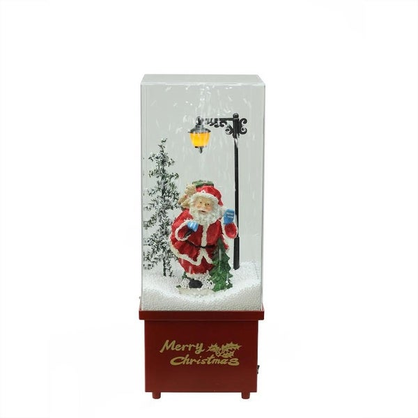 "16.25"" Lighted Musical Santa Claus Snowing Christmas Table Top Snow Dome - RED"