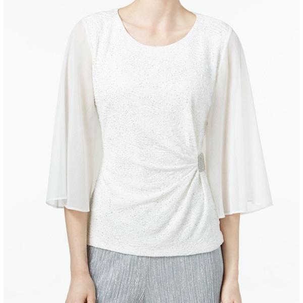 182d09933db5b5 Shop MSK NEW White Rhinestone Flutter-Sleeve Women's Glitter Medium M Blouse  - Free Shipping On Orders Over $45 - Overstock - 17099374