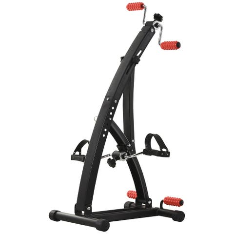 Adjustable Massage Exercise Bike Pedal Exerciser with Arm & Leg Workouts for Indoor Use & Fitness Training - black