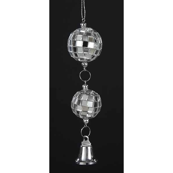 """5"""" Seasons of Elegance Mirror Disco Balls with Bell Christmas Ornament - silver"""