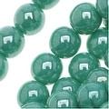 Czech Glass Druk Round Beads 6mm Green Turquoise Luster (50) - Thumbnail 0