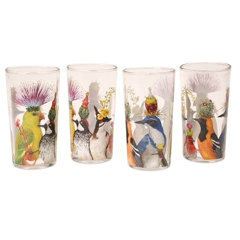 Paperproducts Design Vicki Sawyer Entourage Glasses - Set of 4 Drinking Glasses, Birds in Hats, 12oz. - 2.75 in. x 5.5 in.