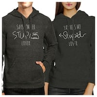 Stupid Lover Dark Grey Cute Matching Couple Gift Hoodies Pullover