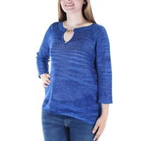 INC Womens Blue Glitter Sheer 3/4 Sleeve Keyhole Top  Size: L