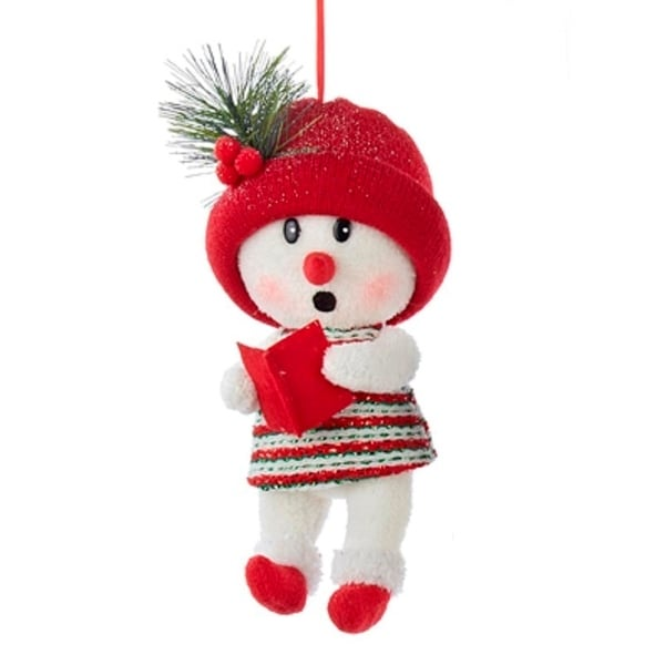 "11.5"" Red and White Snow Woman with Red Hat Decorative Christmas Ornament"