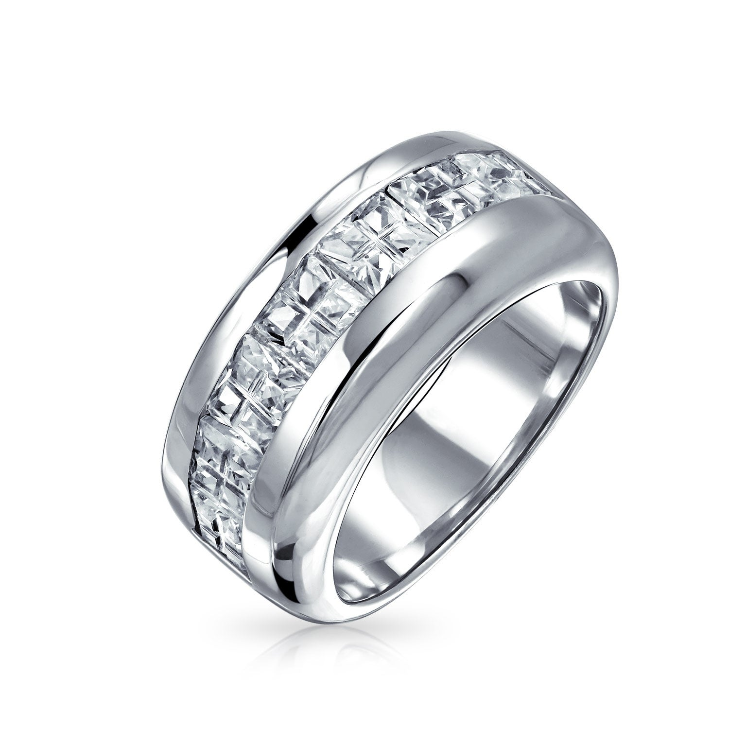 This is a photo of AAA CZ Wide Cubic Zirconia Wedding Band Ring .43 Sterling Silver