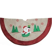 "36"" Burlap Santa Claus in Sleigh Embroidered Christmas Tree Skirt"