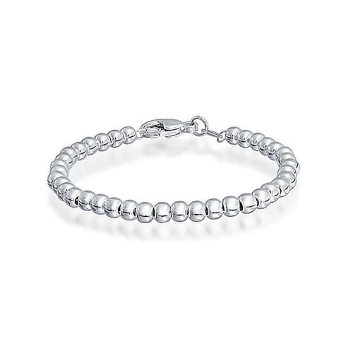 Tiny Simple Basic Round 925 Sterling Silver Bead Ball Strand Bracelet For Women For Teen Small Wrist 4MM