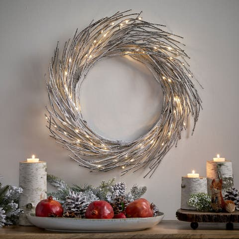 "Elise 24"" Pre-lit Warm White LED Christmas Wreath - Snowy"