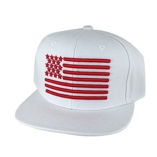 USA Flag Snapback Hat Cap by CapRobot - White Red