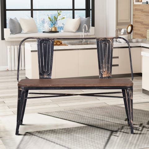 Nestfair Black Rustic Vintage Style Distressed Dining Table Bench