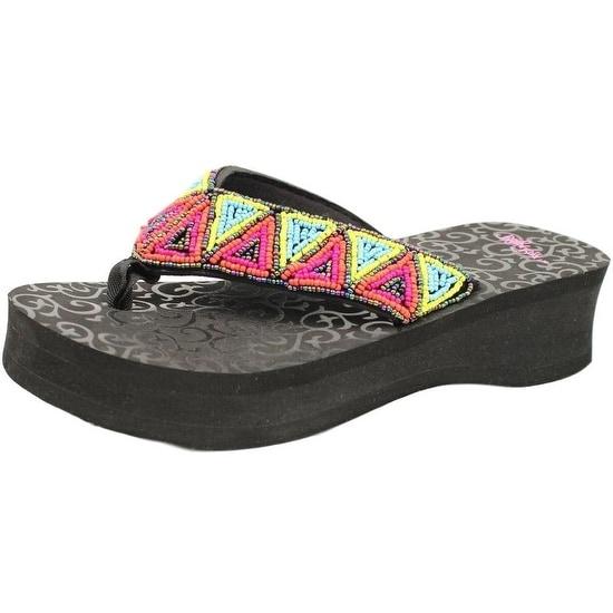 Blazin Roxx Western Shoes Womens Rachel Flip Flops Beads Black