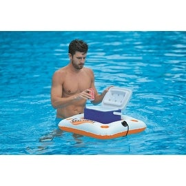 "29"" Orange and White ""Riverland"" Inflatable Cooler and Beverage Holder"