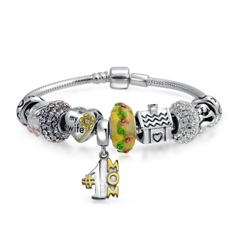 Mother Wife Family Love Home Themed European Snake Chain Bead Charm Bracelet For Women 925 Sterling Silver Barrel Clasp